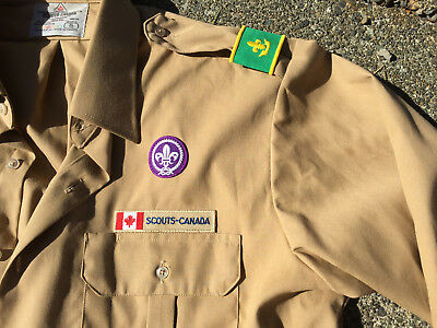 Scouts Canada adult XL brown long sleeve shirt with badges epaulettes