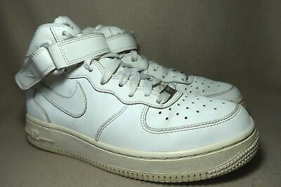 3e434bc8d71 NIKE AIR FORCE 1 Mid 82 Basketball White Leather Trainers Childrens ...