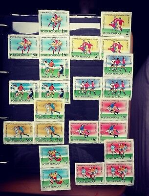 Romanian stamps MNH in pairs, three and six on 3 stocking cards