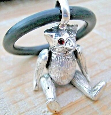 Pretty Birmingham Hallmarked Sterling Silver Muzzled Bear Baby Babies Rattle