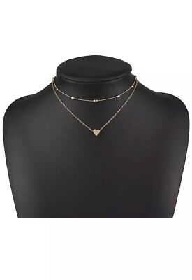 UK Gold Double Layer Heart Choker Necklace Beaded Necklace Fashion Pendant