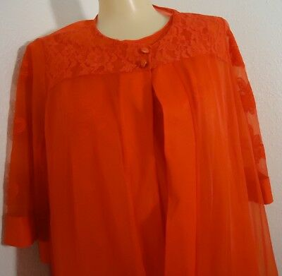 NOS Vtg 1960s Red Nylon & Chiffon Gaymode Gown Robe Set M Lace Appliques As Is