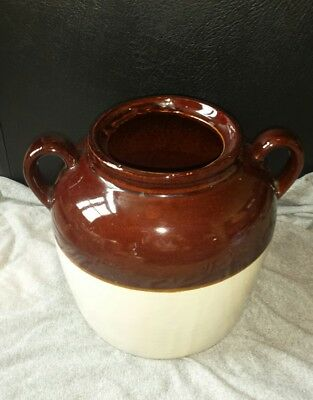 Vintage Stoneware Pottery Double Handled Bean Pot Crock No Lid~ USA