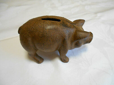 "Vintage Old Cast Iron Pig Piggy Bank 3""  Tall x 5"" Long"
