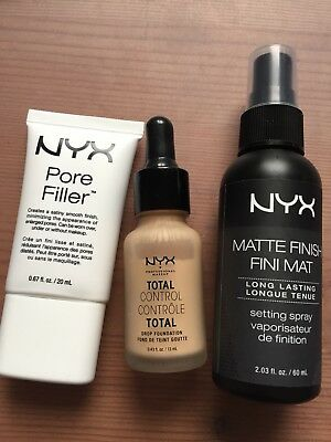NYX Set: Total Control Drop Foundation, Pore Fille und Matte Finish Settingspray
