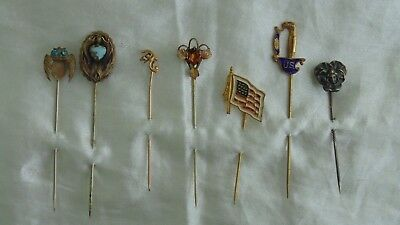 Lot of 7 Assorted Antique Vintage Stick Pins
