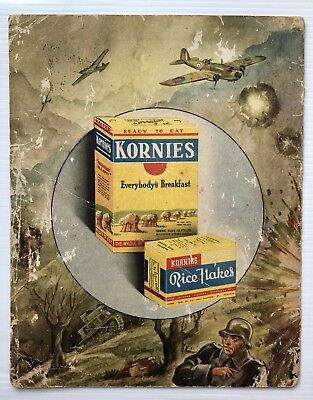 Kornies Advertisement / Show Card Cereal Rice Flakes WW2 Era 1940's