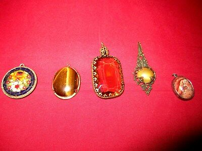 Lot of 5 Various Antique Pendants Fine Stone? / Citrine / Mosaic / Tigers Eye