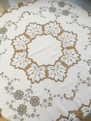 Vintage Madeira Work Hand Embroidered Tablecloth