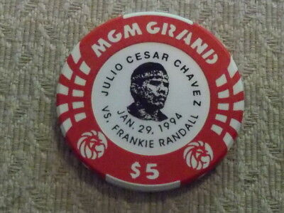 $5 LTD Julio Chavez GAMING CHIP FROM THE MGM GRAND CASINO, LAS VEGAS NV