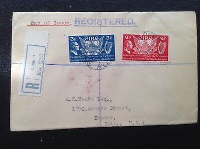 Ireland Eire Stamps 1939 USA Constitution FDC Cover to DENVER USA United States