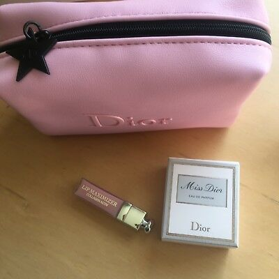 Dior Baby Pink Cosmetics Bag With Perfume And Lip Gloss