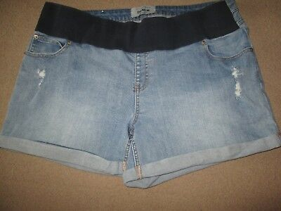 Lovely Size 16 New Look Denim Maternity Shorts See Pics!!