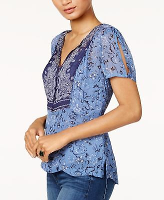 Lucky Brand Printed Sheer-Back Top Navy Multi XS  ______________________ R17A1