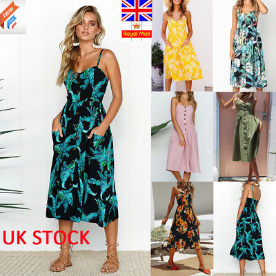 UK Women Strappy Midi Dress Summer Holiday Floral Button Swing Dresses Plus Size