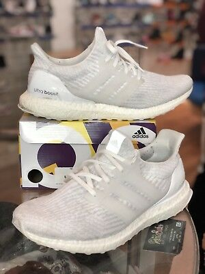 release date 0cf88 62303 Adidas Ultra Boost Triple White 3.0 Mens Running BA8841 Size 9.5