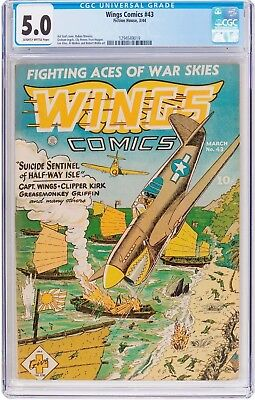 Wings Comics #43 (Fiction House, 1944) CGC VG/FN 5.0 Slightly brittle pages....