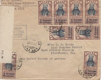 Ethiopia:1943 censored cover to USA with unrecorded Air Mail cachet