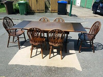 antique oak  extendable dinning table and 6 chairs