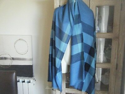Giant Huge Burberry Scarf In Cashmere 80% Silk 20% Great For Summer Evenings