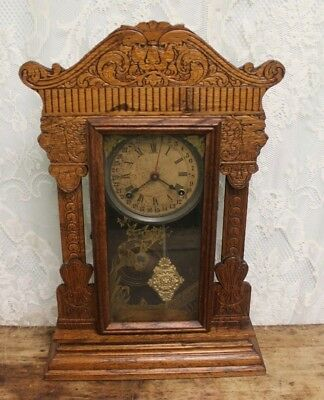 Ornate Antique Sessions Oak Carved Wind God Lions Mantle Kitchen Clock *4