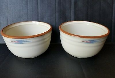 Noritake Stoneware Raindance 8675 Santa Fe Edge Lot of 2 Sugar Berry Bowls 4.75""