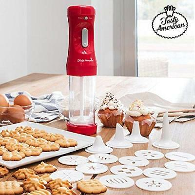 Appetitissime Tasty American Presse à biscuits et accessoires, Rouge, 12 x...