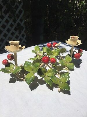 Old VNT ITALIAN TOLE Chandelier style STRAWBERRY BERRY Metal candleholders