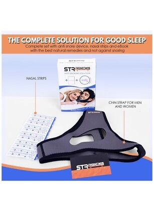 Anti Snoring Chin Strap Solution with Nose Strips - Adjustable Snore Stopper Aid