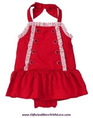 Gymboree NWT 1-pc Red SAILOR BABY BUTTON STRIPE DRESS ROMPER OUTFIT 0 3 6 Months
