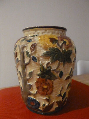 H J Wood Staffordshire -  Indian Tree Large Majolica Vase - excellent condition