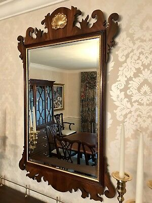 HENKEL HARRIS Chippendale Mahogany Framed Mirror With Gold leaf border And shell