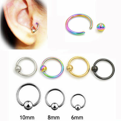 1Pc 16G Titanium Captive Hoop Bead Rings BCR Eyebrow Tragus Nose Nipple Ring Lip