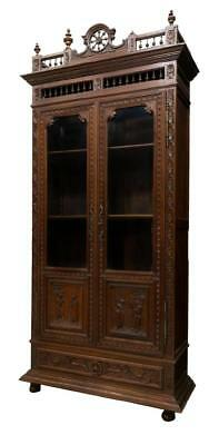 BRITTANY FRANCE FIGURAL & SPINDLE CARVED BOOKCASE, 19th Century  ( 1800s )