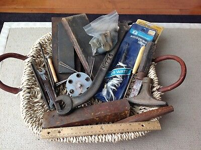 Vintage Antique Tools Lot of Misc Items Including Wrenches & Sharpening Stone