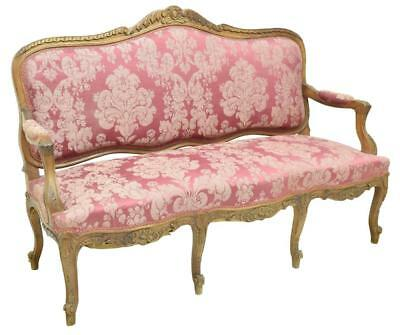 LOUIS XV STYLE FLORAL FOLIATE CARVED WALNUT SOFA, early 1900s