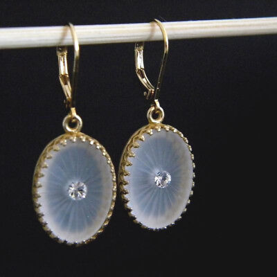 Frosted Crystal Clear Vintage Camphor Glass Sunburst Bezel Set Earrings