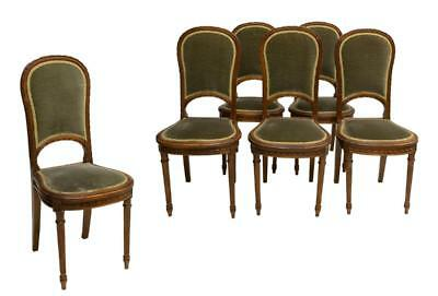 6 LOUIS XV STYLE RIBBON CARVED SIDE CHAIRS, 19th Century ( 1800s )