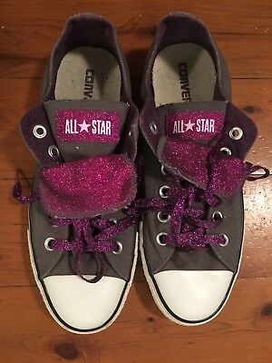Converse All Star Low Tops size 8 women 6 men charcoal grey with purple glitter