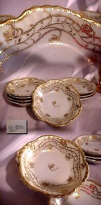 8 Antique Nippon Noritake Deco White And Gold Berry Bowls ! Blue Maple Leaf Mark