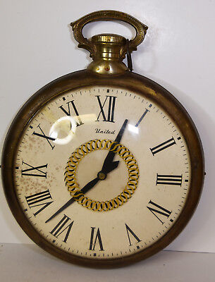 """17"""" Vintage Electric Wall Clock UNITED USA Made Pocket Style FOR PARTS / REPAIR"""