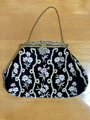 Antique Victorian Style Floral Beaded Bag Purse With Ornate Beaded Frame Top