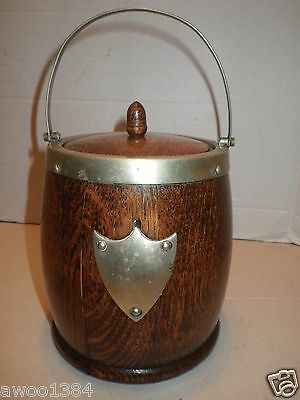 Antique Edwardian Era Vintage Oak Biscuit Barrel Ice w Ceramic Liner & Hallmarks