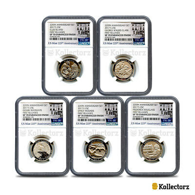 2017 225Th Anniversary 5-Coin Set 25C Ngc Sp70 Enhanced Finish First Releases.