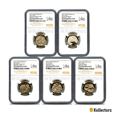 2017 225Th Anniversary 5-Coin Set 25C First Day Ana Ngc Sp70 Enhanced Finish