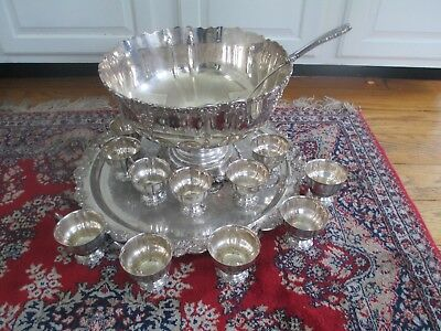 "Wallace Baroque Silver plate Punch Bowl Set 21"" Tray 11 Cups Sterling Ladle"