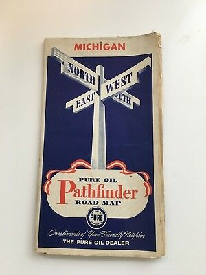 1940'S MICHIGAN road map Pure TIOLENE MOTOR gas oil Pathfinder COLOR  SHIPS FREE