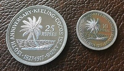 1977 Keeling Cocos Islands Silver Set 2 Coins 25 10 Rupees Original Box & Papers