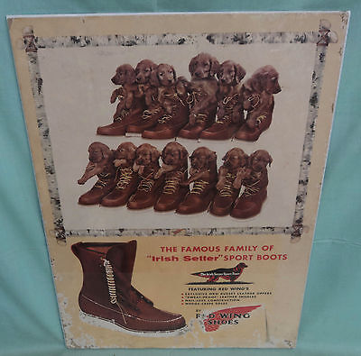 "Vintage RED WING SHOES Cardboard Sign Irish Setter Sport Boots 16 ¾"" by 23"""