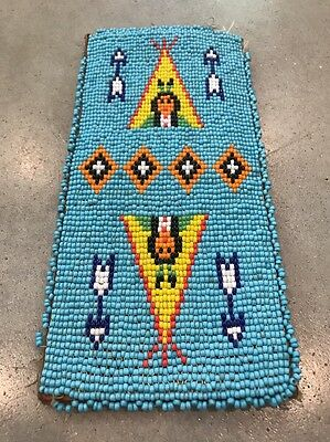 VTG Native American Beaded Wallet Turquoise Teepee Tipi Arrows Pictorial Biker